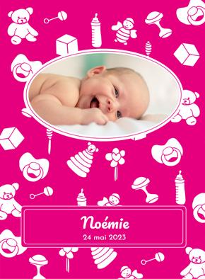 Carte Les jouets de bébé Faire-part naissance fille